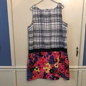 Loft Neon Floral Drop Waist Mixed Media Dress 16P
